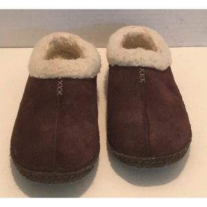 👠SOREL SUEDE Brown Fur LINED SLIPPERS Rubber SOLE